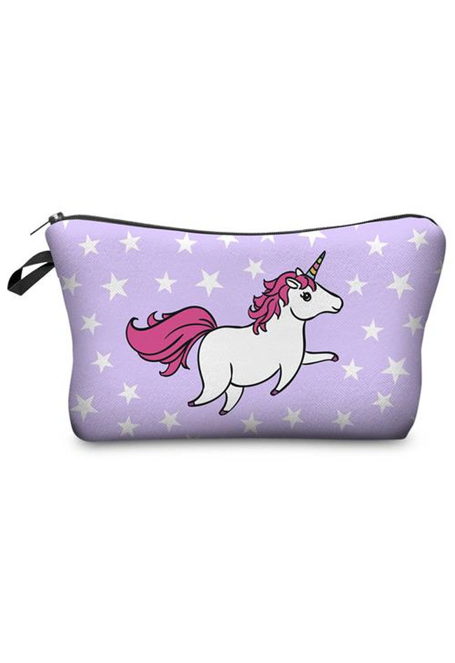 Make Up Bag Unicorn White Stars
