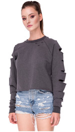 Sweater Cropped mit Cut-Out Ärmeln Alexa
