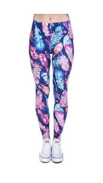 Leggings Fullprint Federn lila