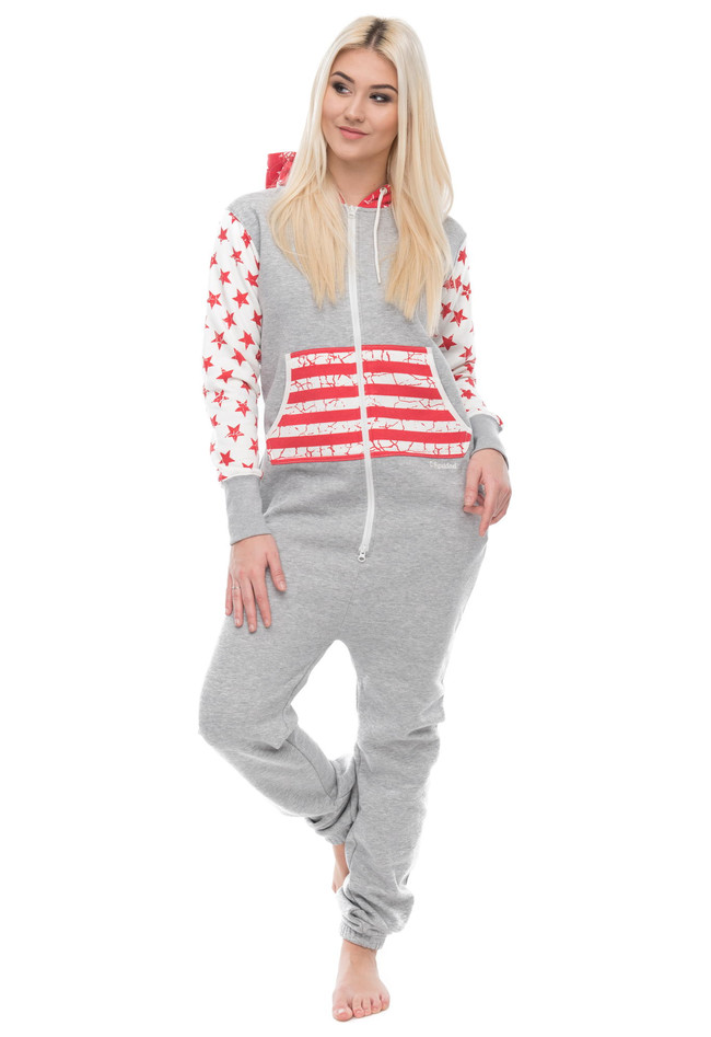 bd8eccd6d94bdc Jumpsuit Freizeitanzug Overall Pyjama mit US-Flagge - Damen Bekleidun