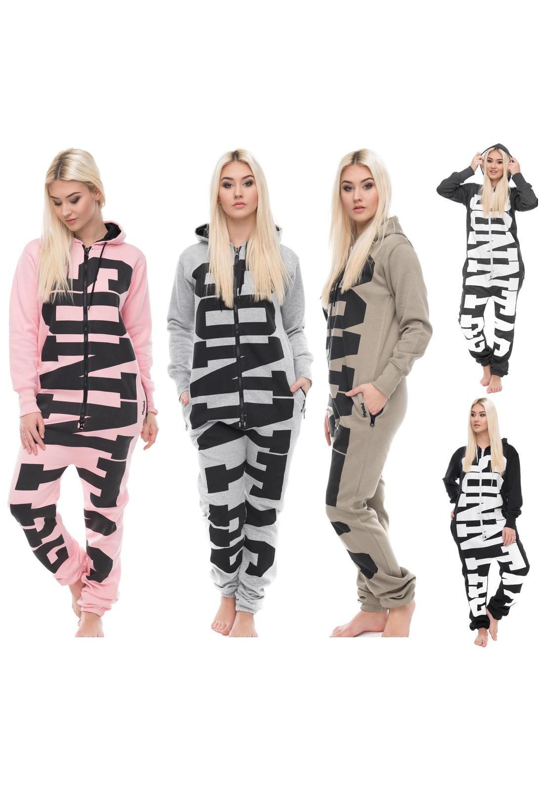 4cab16e6f93a3a Jumpsuit Freizeitanzug Overall Pyjama mit Sonntag Schriftzug. Loomiloo