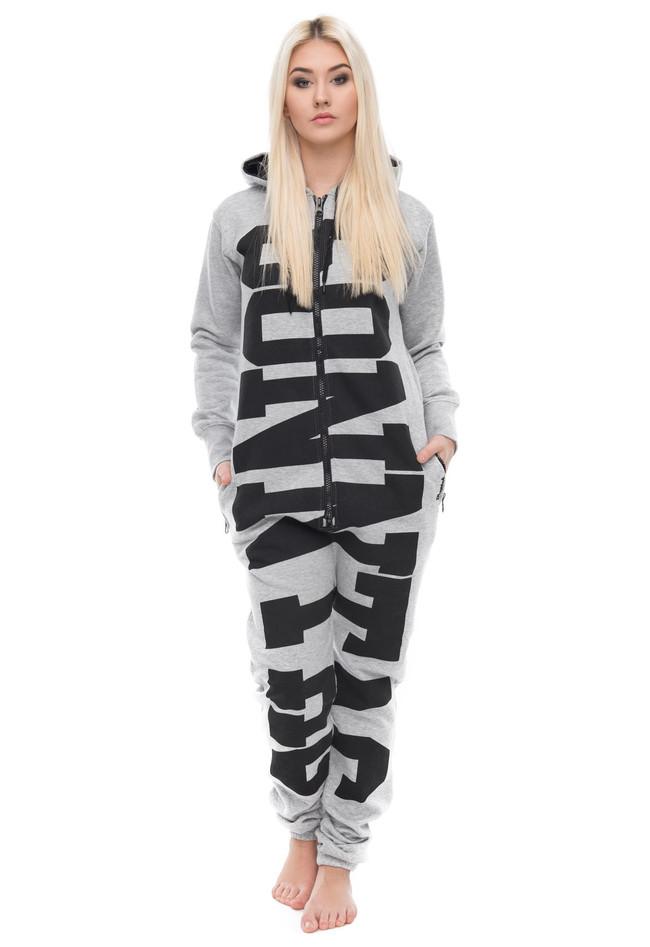 5e848bebbc9e41 Jumpsuit Freizeitanzug Overall Pyjama mit Sonntag Schriftzug - Damen