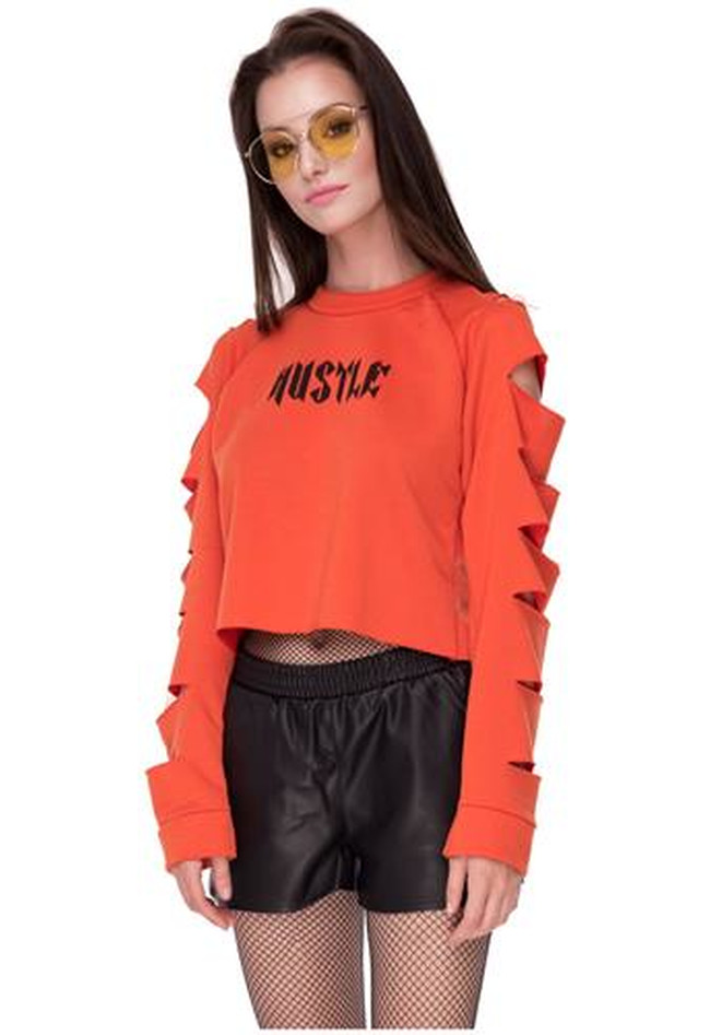 Sweater cropped mit Hustle-Print
