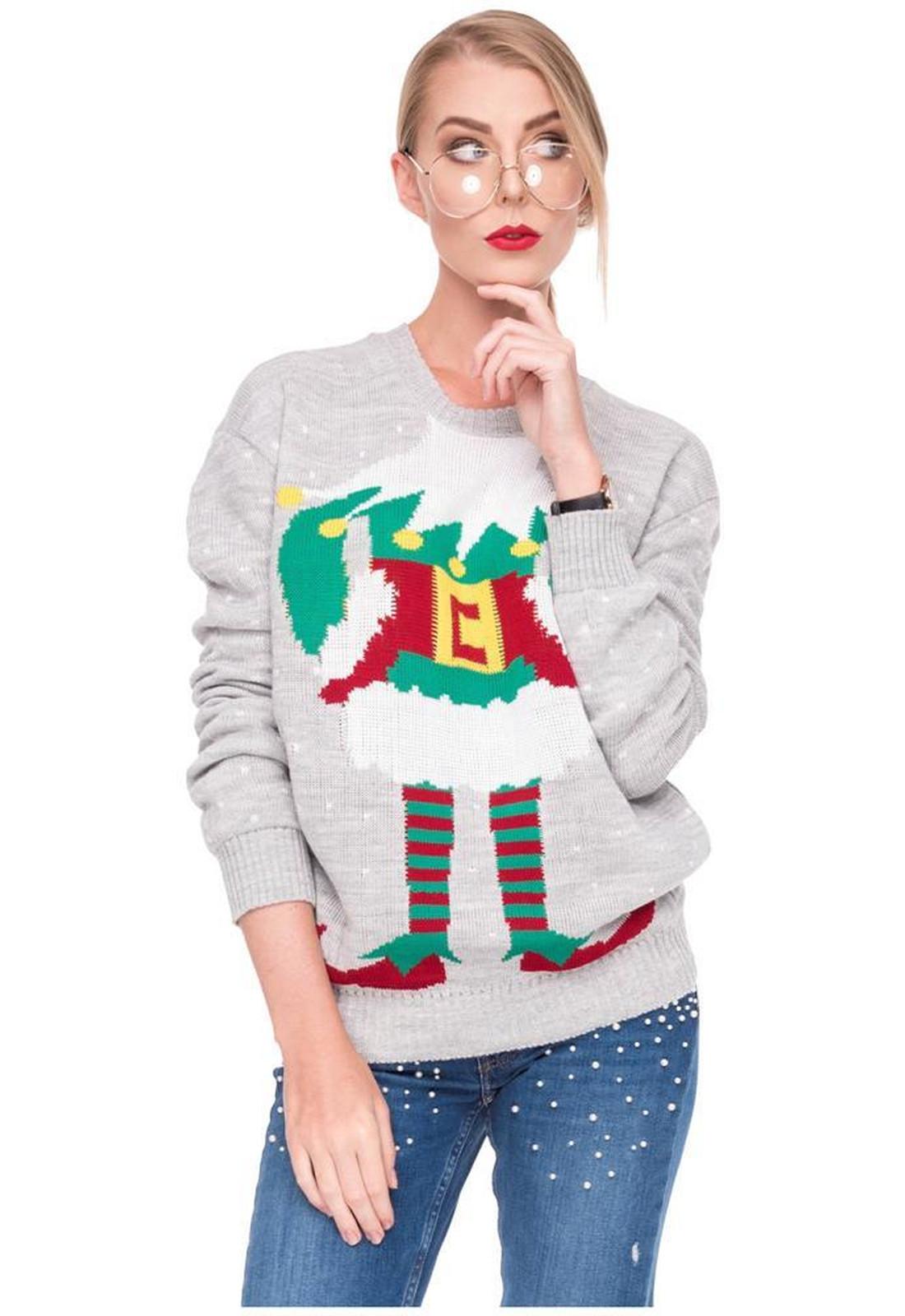 Weihnachstspullover Damen Weihnachstpullis Weihnachten Elfenmotiv ...