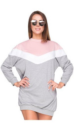 Sweater Oversize Colorblock-Design Hellgrau/Rosa S/M