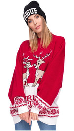 Sweater Merry Christmas Rentier Rot