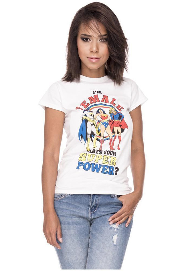 T-Shirt Superheldinnen Motiv Comic Logoprint