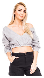 Cropped V-Neck Sweater Ash