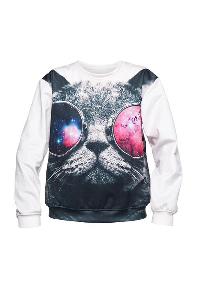 Galaxy Sunglasses Cat Sweater Fullprint
