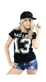 T-Shirt Ladies Round Bad Luck Schwarz M