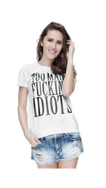T-Shirt Ladies Round Idiots