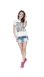 T-Shirt Ladies Round Idiots Wei¤ M