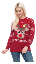 Christmas Sweater Bambi mit roter Puschelnase Rot S/M