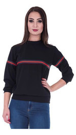 Sweater Front-Stripes normal Schwarz S/M