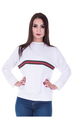 Sweater Front-Stripes normal Weiß M/L