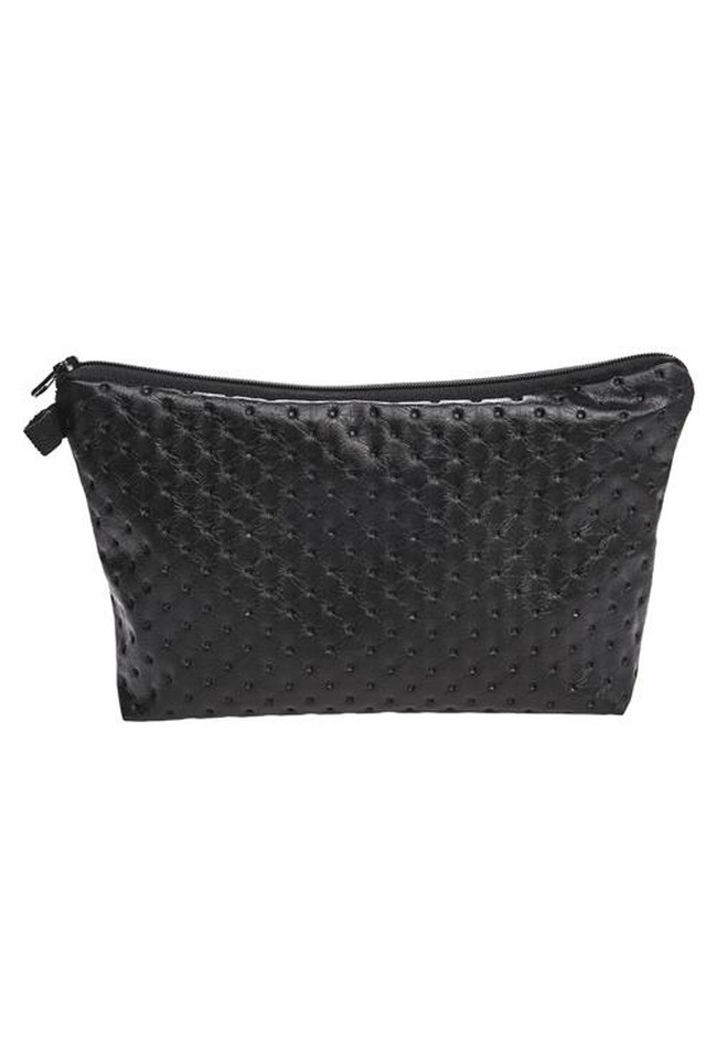 Make Up Bag aus Leder in Schwarz