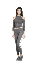 Workout Leggings Dunkelgrau / Weiß M/L