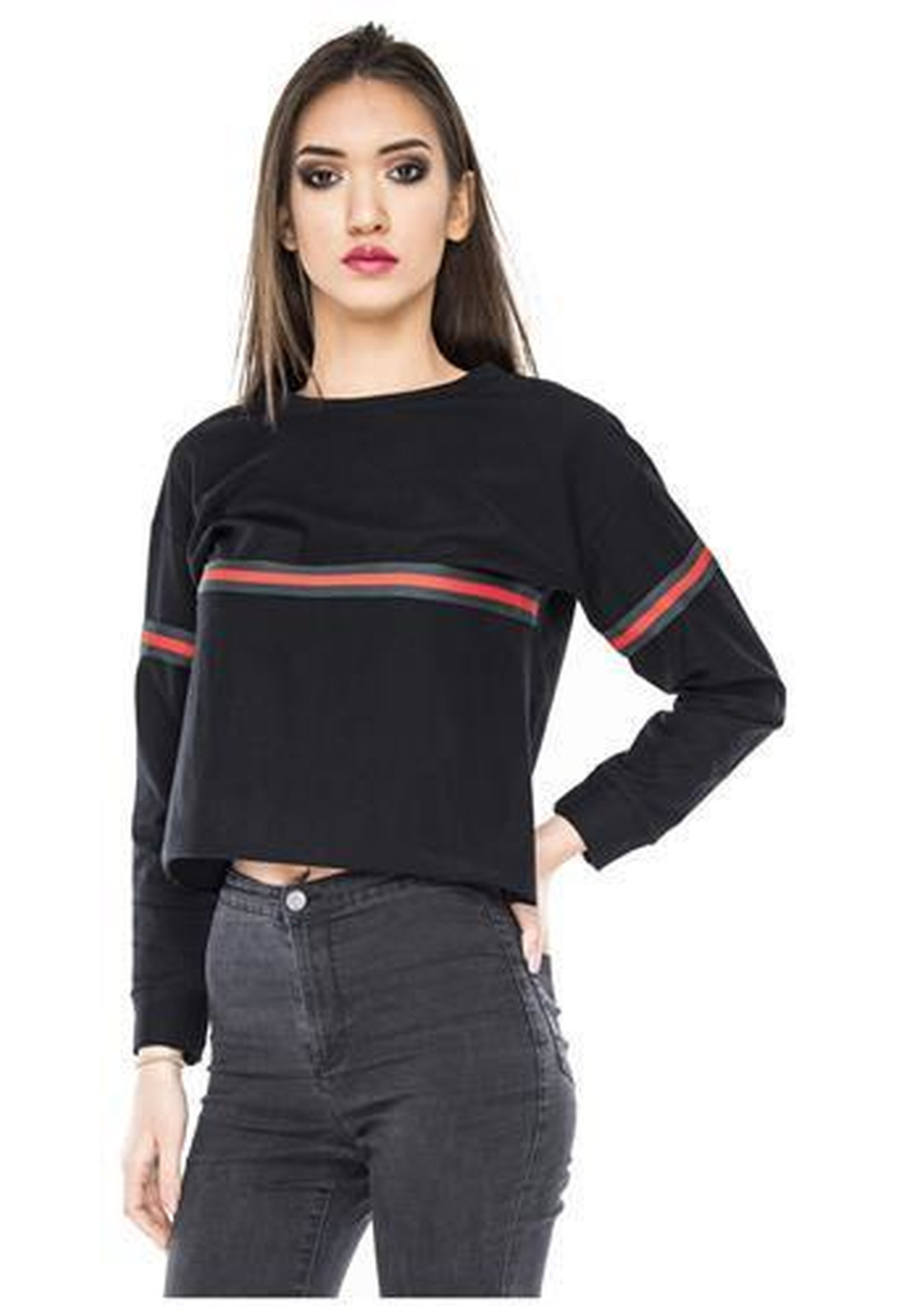 9d2115aaa57d Crop Sweater Cropped Top Damen Stripes Sweatshirt bauchfrei Streifen  Oberteil Logo. Loomiloo