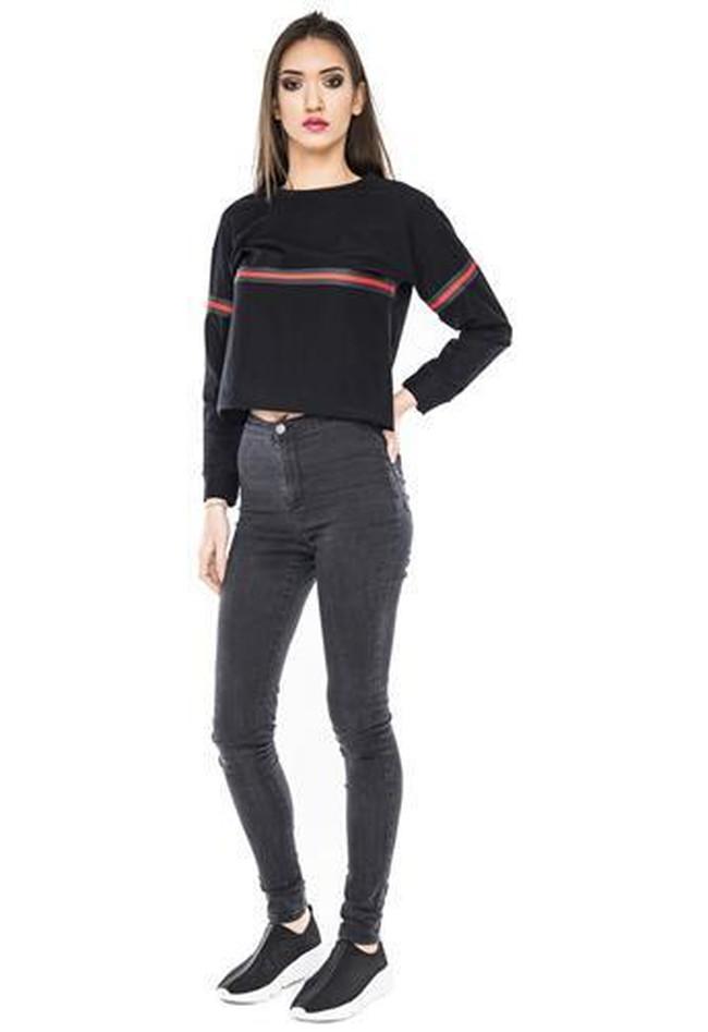 af997f5a72c1 Crop Sweater Cropped Top Damen Stripes Sweatshirt bauchfrei Streifen  Oberteil Logo kaufen - LOOMILOO