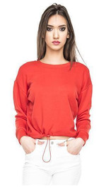 Crop Sweater mit Tunnelzug