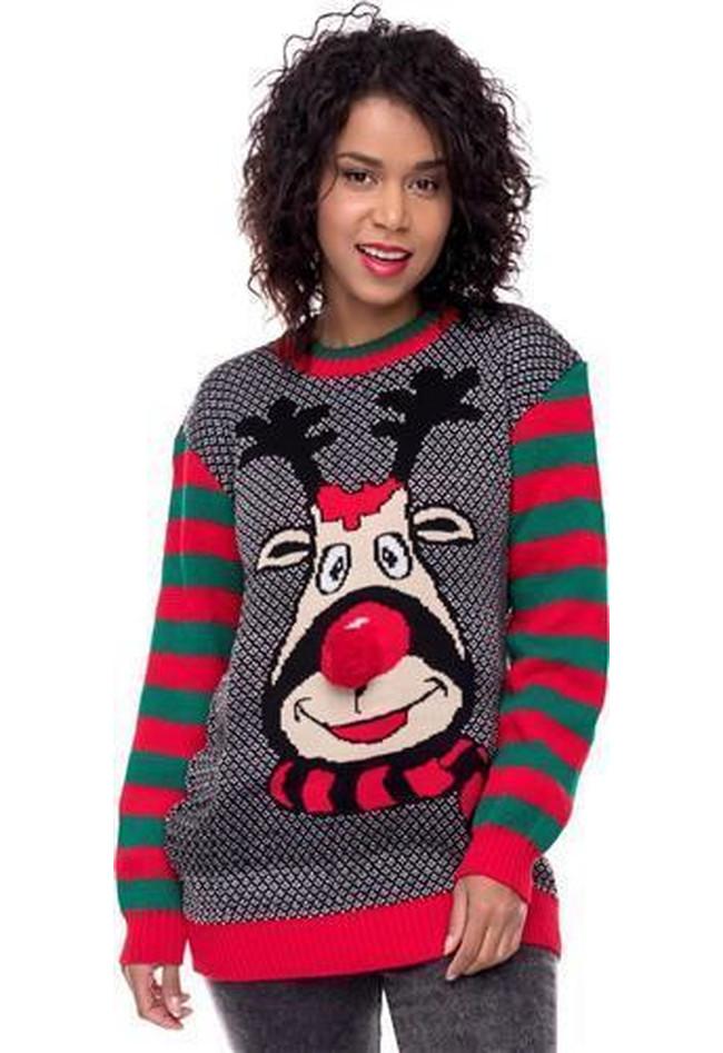 3260be50f462 Weihnachstspullover Damen Weihnachstpullis Weihnachten Puschelnase Streifen