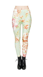 leginsy fullprint MINT FLOWER
