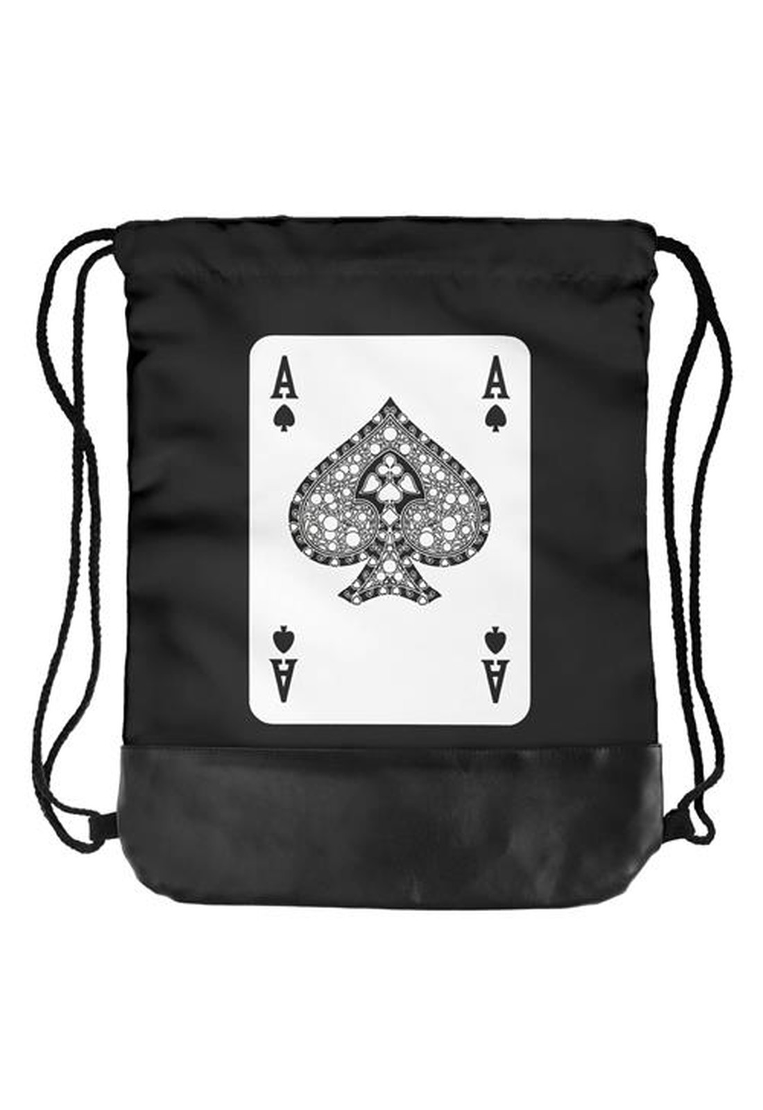 half leather simple backpack  ACE OF SPADES