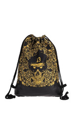 half leather simple backpack  GOLD SKULL 13