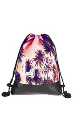 half leather simple backpack  LA PALMS