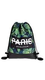 half leather simple backpack  PARIS BONJOUR EXOTIC LEAF