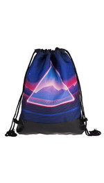 half leather simple backpack  TRIANGLE NEON