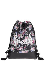 half leather simple backpack  FLOWER FRESH