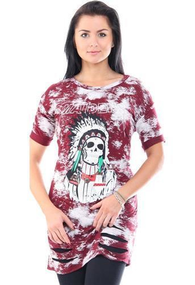 T-Shirt Maidens Indian Skull Print