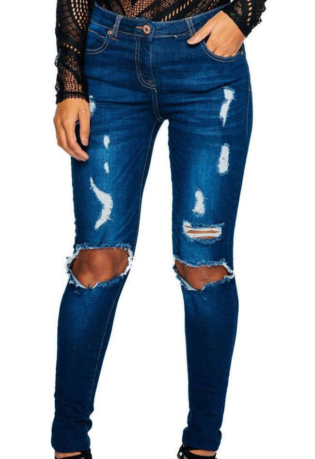 Jeans Distressed Blue Skinny